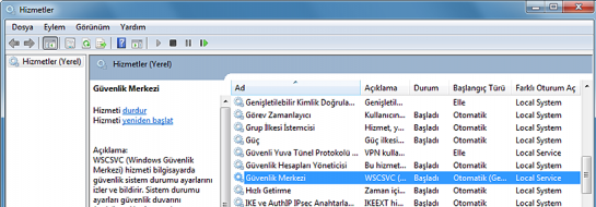 Windows Güvenlik Merkezi Hizmeti Başlatılamıyor Hatası ve Çözümü